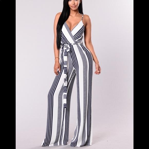 Fashion Nova Pants Navy White Striped Jumpsuit Poshmark